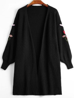 Lantern Sleeve Floral Embroidered Slit Cardigan - Black
