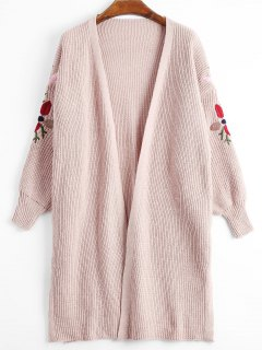 Lantern Sleeve Floral Embroidered Slit Cardigan - Pink