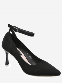 Pointed Toe Ankle Strap Pumps - Black 39