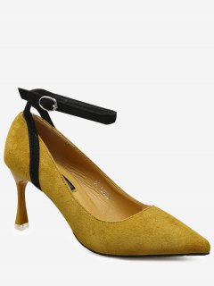 Pointed Toe Ankle Strap Pumps - Ginger 38