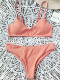 High Cut Bralette Bikini Set - Orangepink S