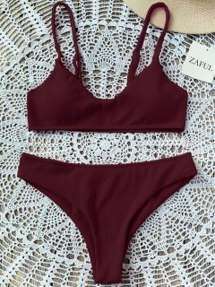 High Cut Bralette Bikini Set - Wine Red S