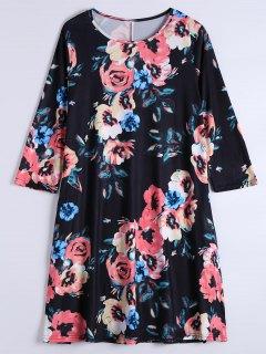 Long Sleeve Flower Shift Dress With Pockets - Black Xl