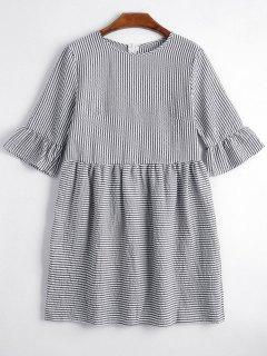 Round Collar Striped Dress - Black M