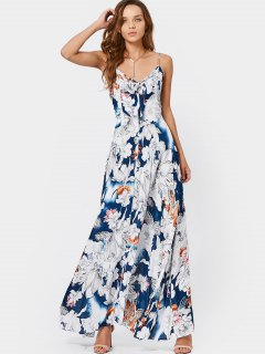 Smocked Bowknot Floral Maxi Dress - Floral M