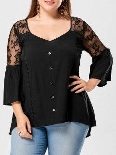 Plus Size Sheer Yoke Flare Sleeve Blouse - Black 5xl