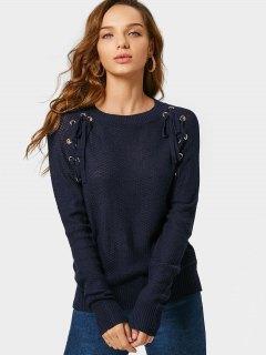 Loose Lace Up Sheer Sweater - Purplish Blue S