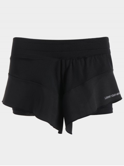 shops Sporty Double Layered Shorts - BLACK S Mobile