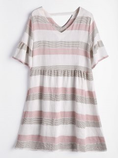Flare Sleeve Cut Out Striped Dress - Shallow Pink M