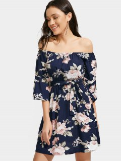 Floral Off Shoulder Belted Dress - Purplish Blue Xl