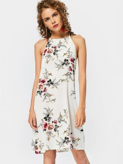 High Neck Keyhole Floral Swing Dress - Floral M