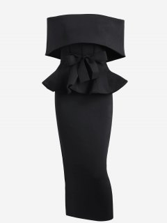 Ruffles Belted Top And Slit Skirt Set - Black M