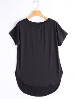 Round Collar Plain High Low Tee - Black M