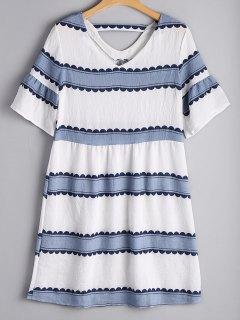 Flare Sleeve Striped Cut Out Dress - Stripe L