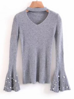 Flare Sleeve Faux Pearl Choker Sweater - Gray
