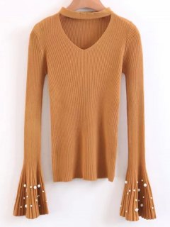Flare Sleeve Faux Pearl Choker Sweater - Yellow