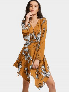 Floral Print Belted Asymmetric Dress - Floral L