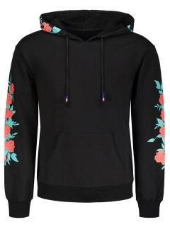 Pullover Floral Print Hoodie - Black M