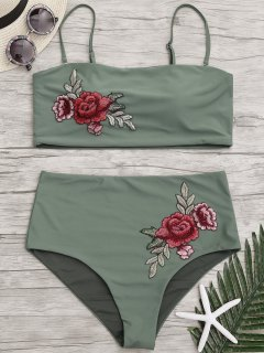 Applique Plus Size High Waisted Bikini - Army Green Xl