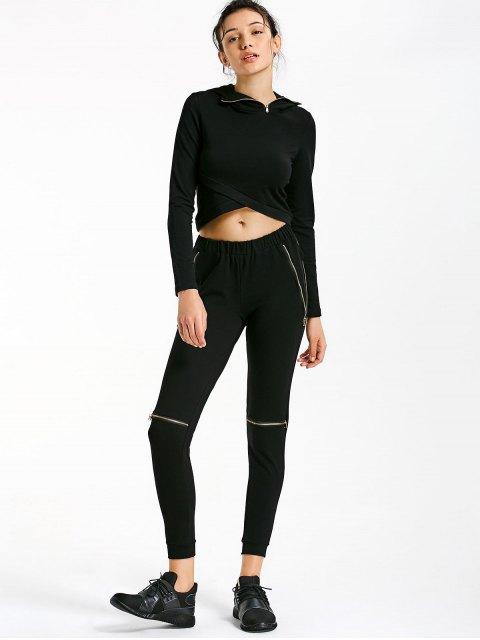 Sweat à capuche croisé asymétrique avec pantalons de jogger - Noir M Mobile
