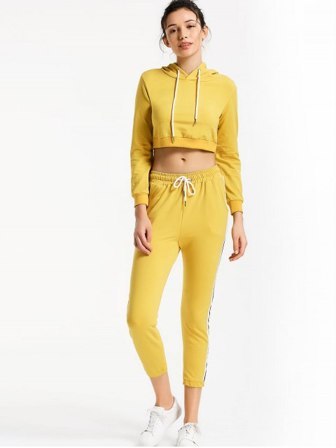 outfits Sporty Drawstring Hoodie with Pants - YELLOW S Mobile