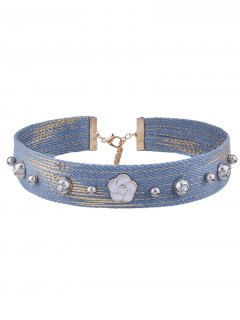 Rhinestone Denim Flower Choker Necklace - Denim Blue