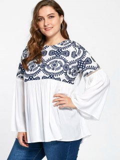 Plus Size Embroidery Flare Sleeve Bohemian Blouse - White 2xl