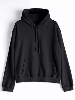 Casual Kangaroo Pocket Plain Hoodie - Black M
