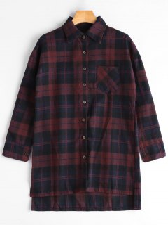 Plaid High Low Longline Shirt - Blue And Red S