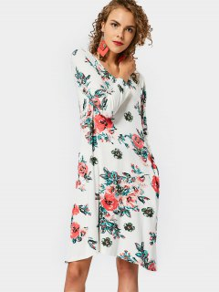 Round Collar Floral Print Shift Dress - Floral Xl
