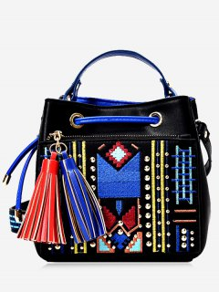 Tassesls Embroidery Rivets Tote Bag - Black