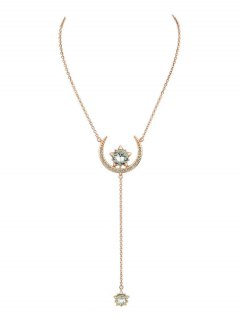 Moon Star Pendant Necklace - Rose Gold