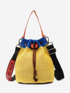 Color Block Weave Drawstring Bucket Bag - Yellow