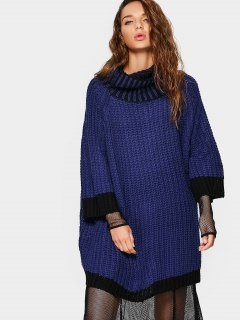 Overisized Turtleneck Cable Knit Sweater - Deep Blue