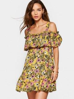 Floral Overlap Cold Shoulder Mini Dress - Yellow