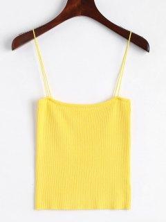 Knitting Cami Ribbed Tank Top - Yellow S