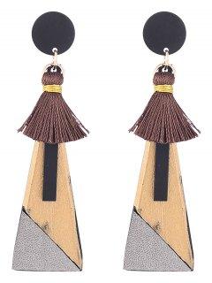 Tassels Triangle Pendant Drop Earrings - Golden