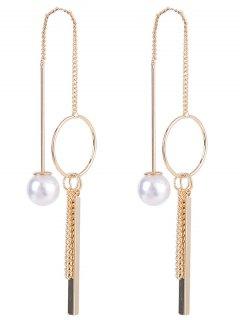 Faux Pearl Metal Circle Stick Drop Earrings - Golden