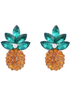 Faux Crystal Inlay Pineapple Design Stud Earrings - Golden