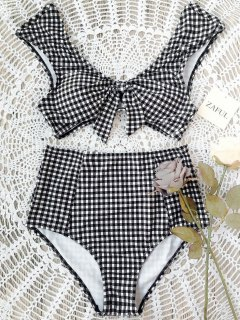 Checked Tie Front High Waisted Bikini - White And Black M