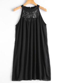 Double Layered Lace Panel Trapeze Dress - Black L