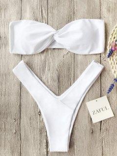 Twist Front Bandeau Thong Bikini - White S