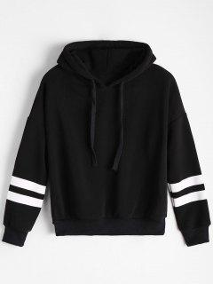Drop Shoulder Striped Drawstring Hoodie - Black