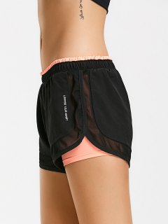 Mesh Double Layered Running Shorts - Orangepink S