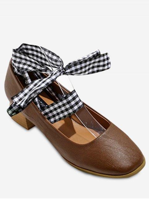 women's Square Toe Block Heel Tie Up Pumps - DEEP BROWN 37 Mobile