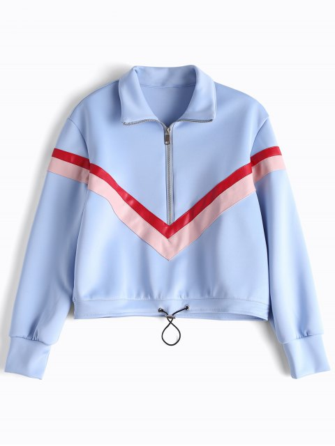Panneau en cuir Faux Leather Half Zipper Sporty Top - Bleu clair L Mobile