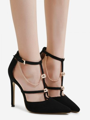 Metal Chains T-strap Faux Suede Pumps