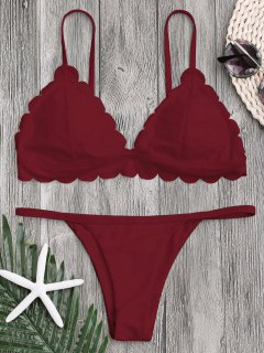 Low Waisted Scalloped Thong Bikini - Deep Red S