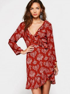 Printed Long Sleeve Wrap Asymmetrical Dress - Red S
