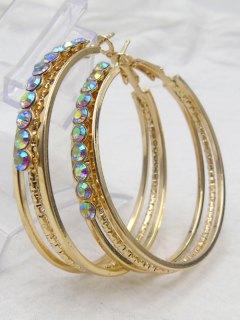 Rhinestone Metal Alloy Circle Hoop Earrings - Golden